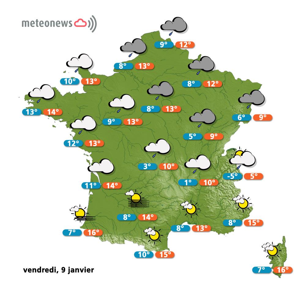 Carte météo France du vendredi 9 janvier 2015