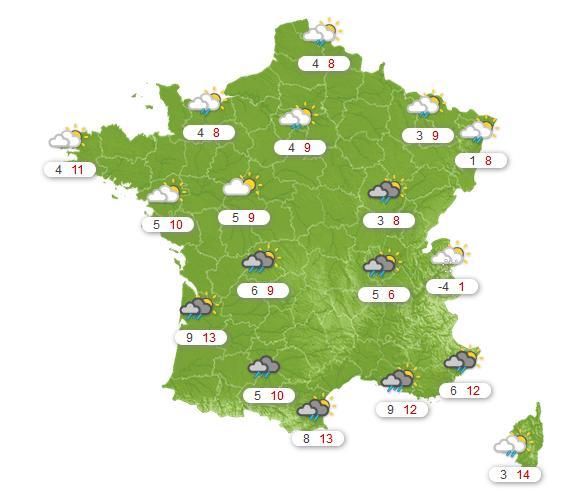 Prévisions météo France du dimanche 15 février
