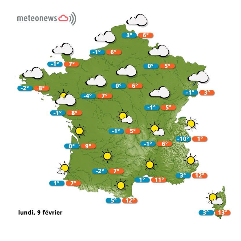 Prévisions météo France du lundi 9 février