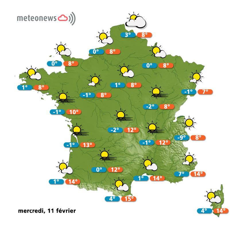 Prévisions météo France du mercredi 11 février