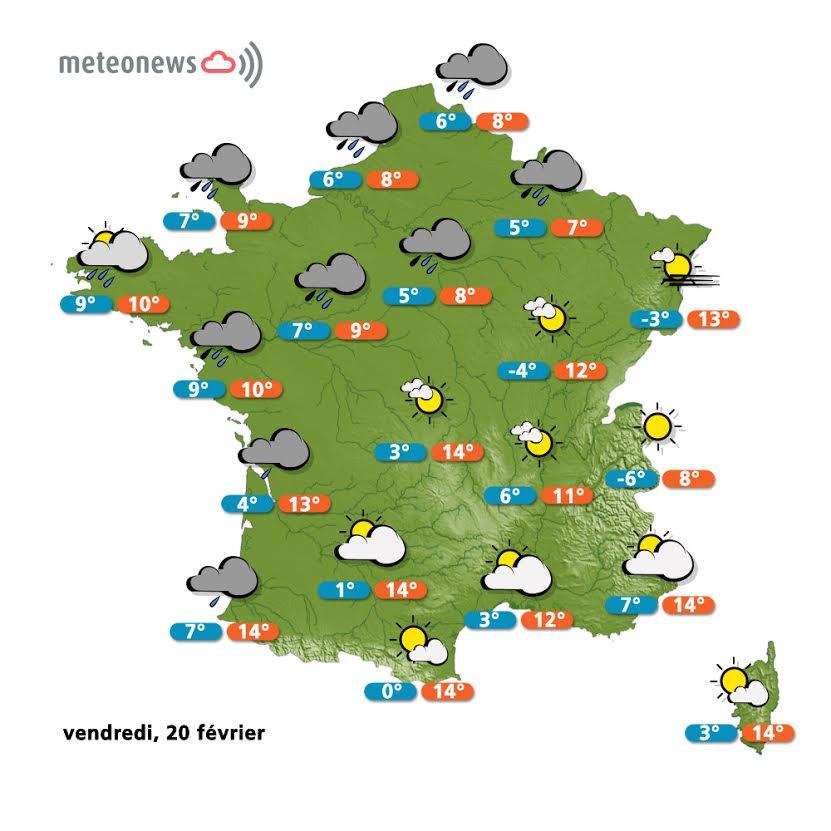 Prévisions météo France du vendredi 20 février