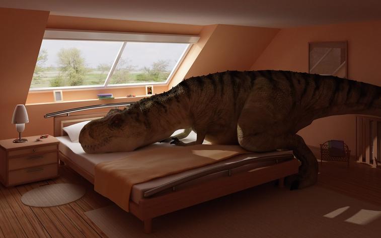 Un dinosaure se reposant dans un chambre