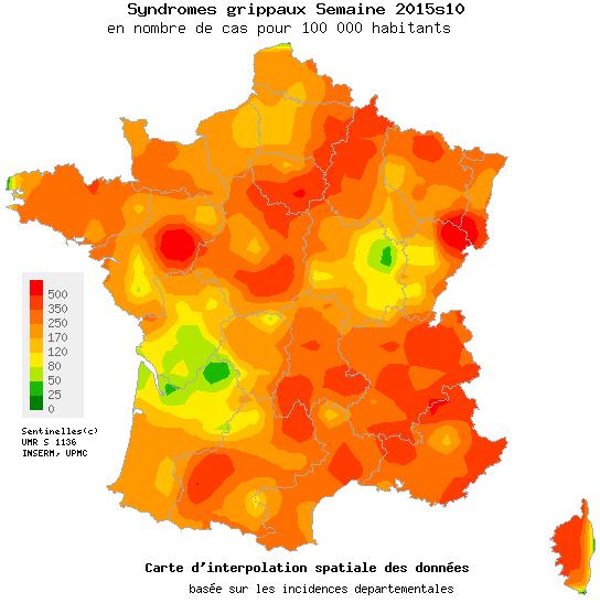 Carte de la grippe, mars 2015