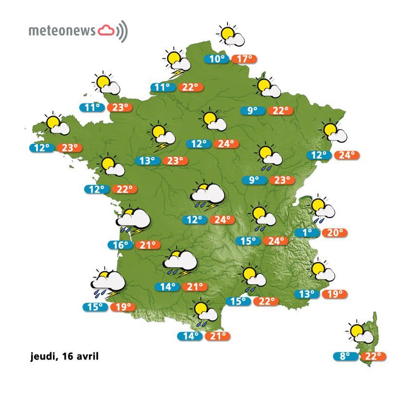 Prévisions météo France du jeudi 16 avril