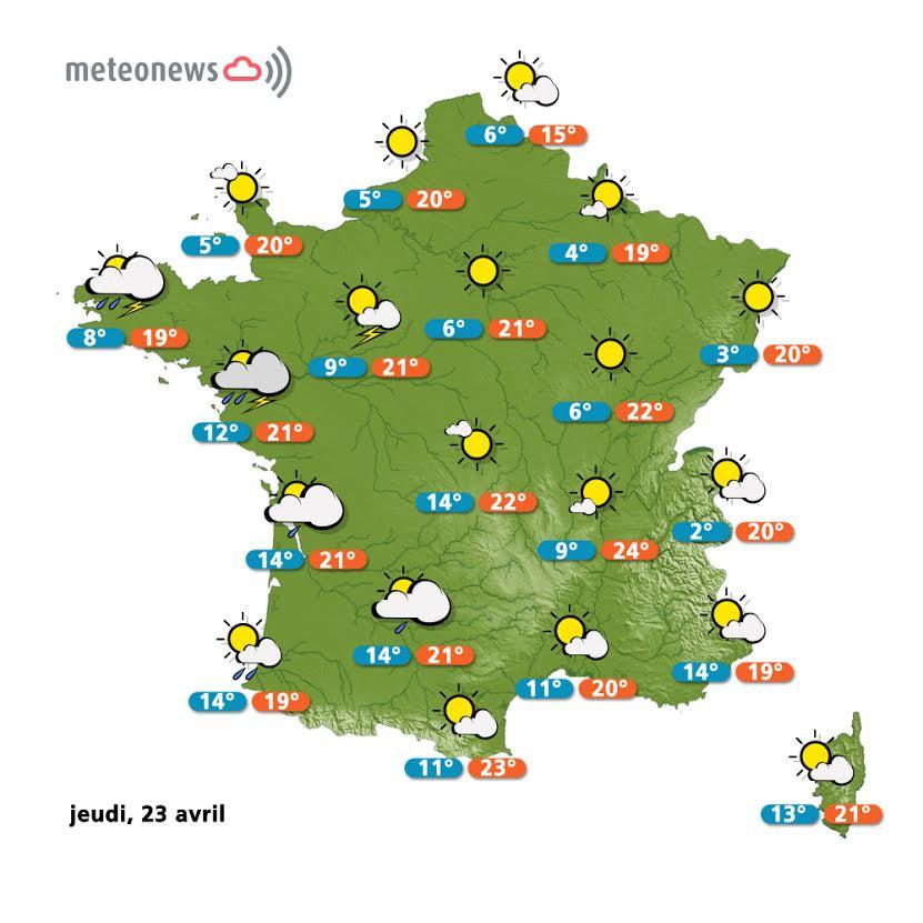 Prévisions météo France du jeudi 23 avril