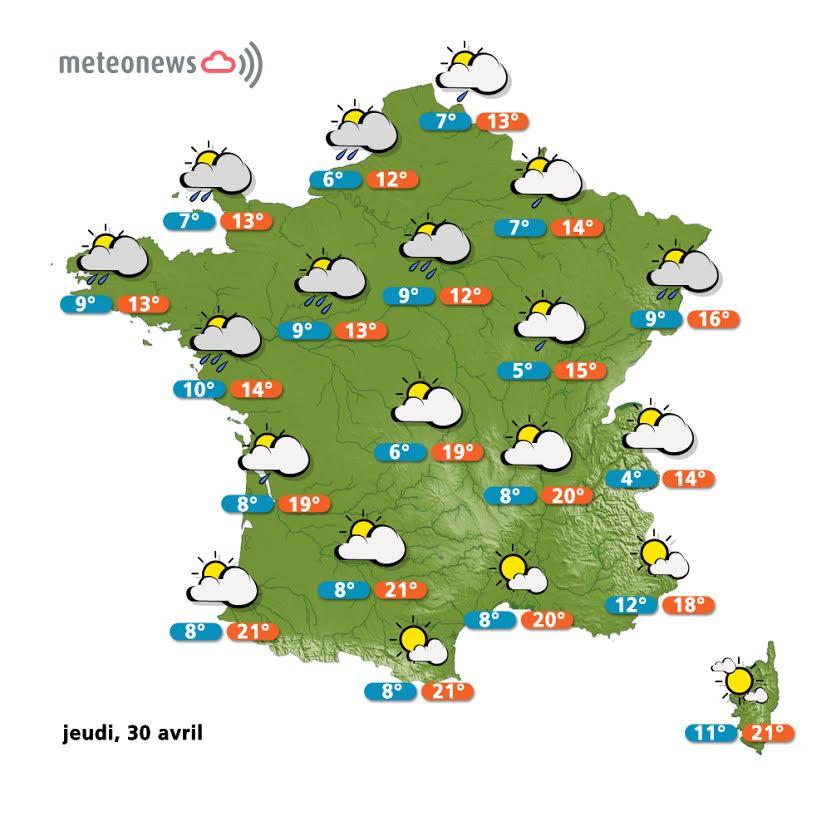 Prévisions météo France du jeudi 30 avril