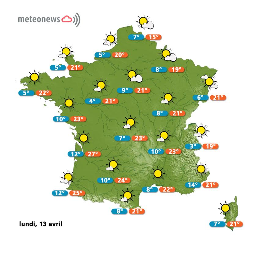 Prévisions météo France du lundi 13 avril
