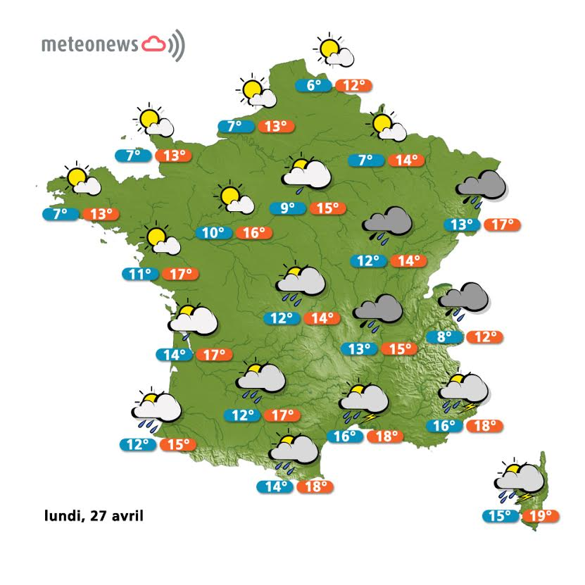 Prévisions météo France du lundi 27 avril
