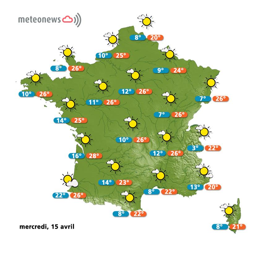 Prévisions météo France du mercredi 15 avril