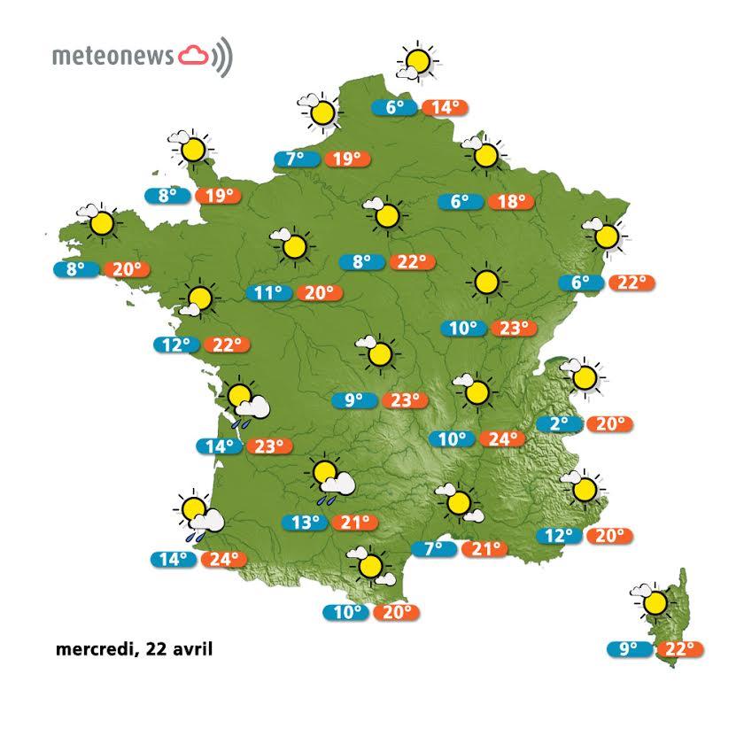 Prévisions météo France du mercredi 22 avril