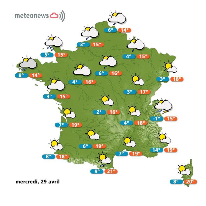 Prévisions météo France du mercredi 29 avril