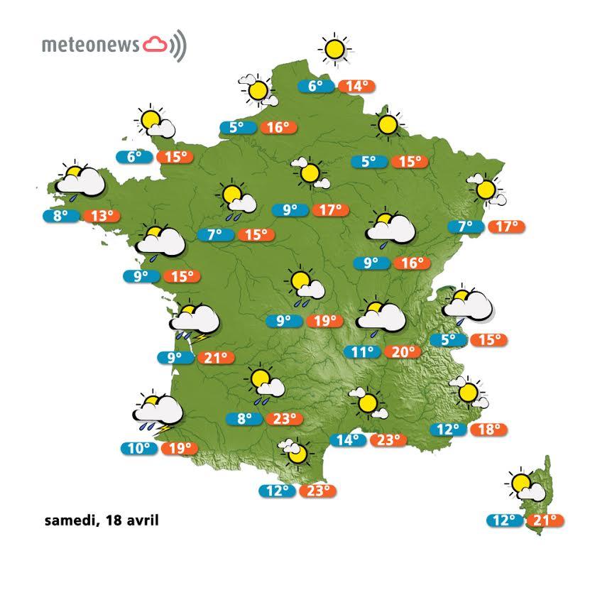 Prévisions météo France du samedi 18 avril