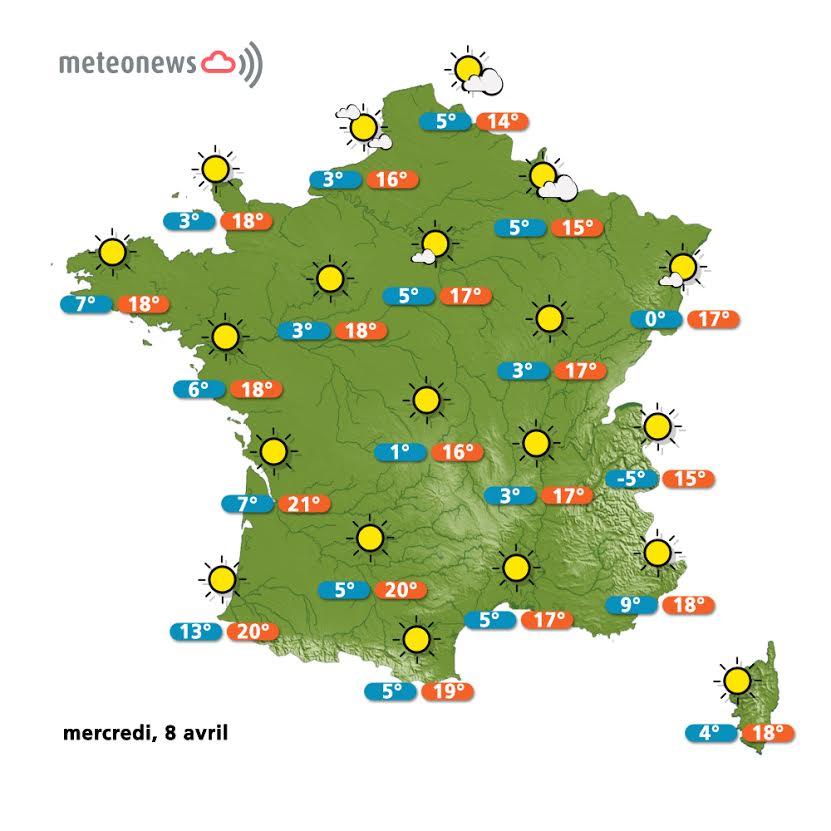 Prévisions météo France du mercredi 8 avril