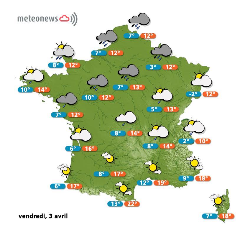 Prévisions météo France du vendredi 3 avril