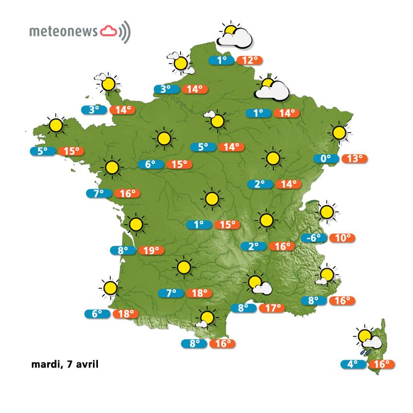 Previsions météo France du mardi 7 avril