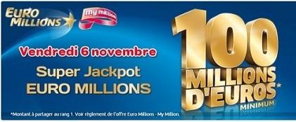 Super jackpot Euromillions du 6 novembre